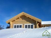 деревянный коттедж зимой - строительство